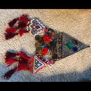 Jewelry - Bedouin silver metal & beadwork necklace piece